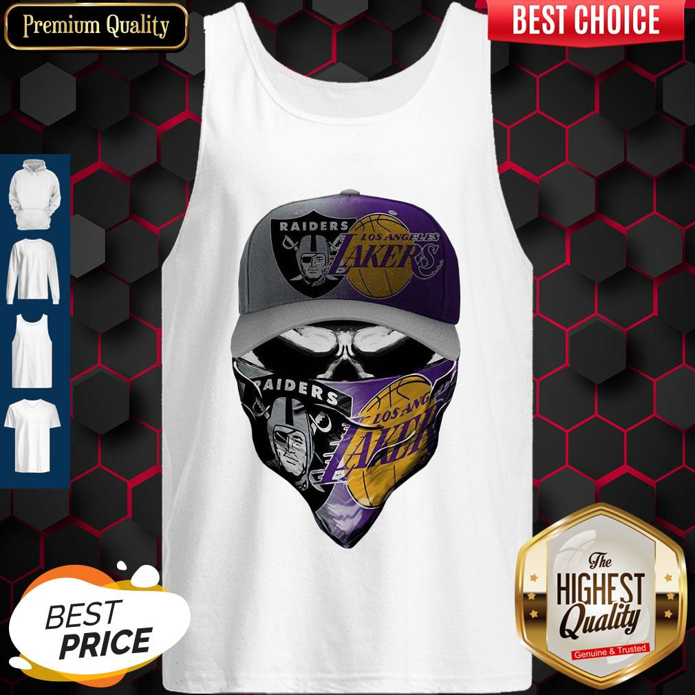 Awesome Skull Mask Oakland Raiders And Los Angeles Lakers Tank Top