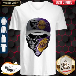 Awesome Skull Mask Oakland Raiders And Los Angeles Lakers V-neck