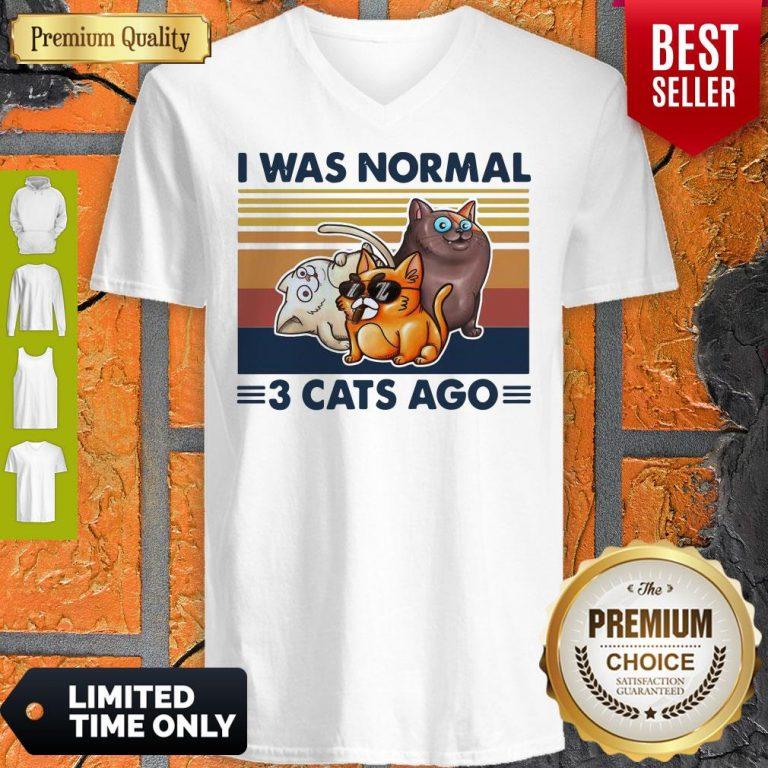 Funny I Was Normal 3 Cats Ago Black Version V-neck