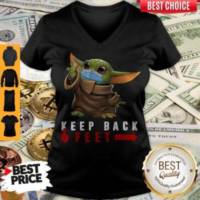 Nice Baby Yoda Face Mask Keep Back 6 Feet V-neck