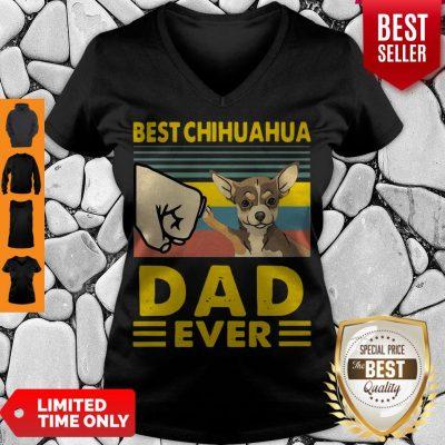 Nice Best Chihuahua Dad Ever Vintage V-neck