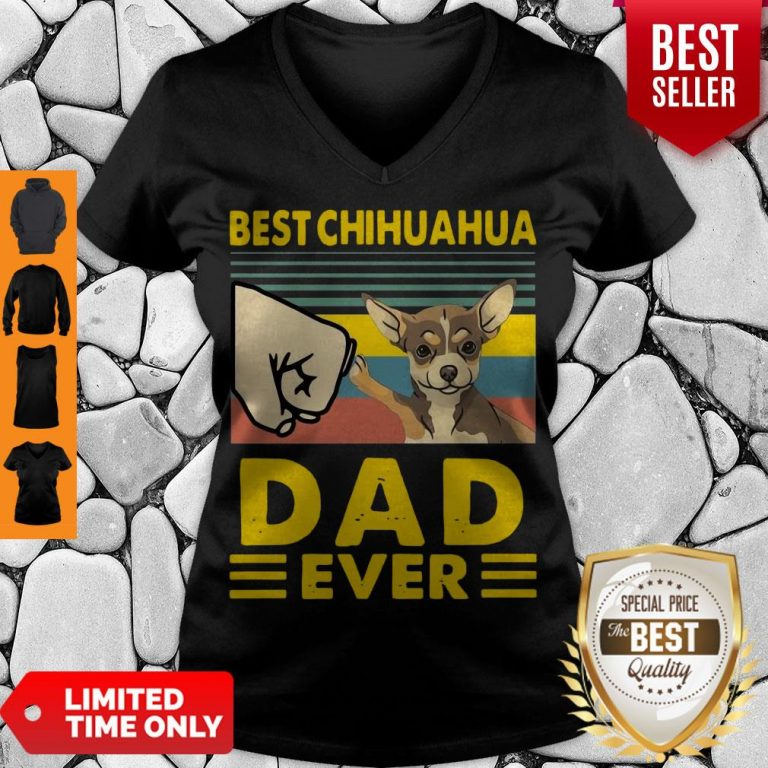 Nice Best Chihuahua Dad Ever Vintage V-neck
