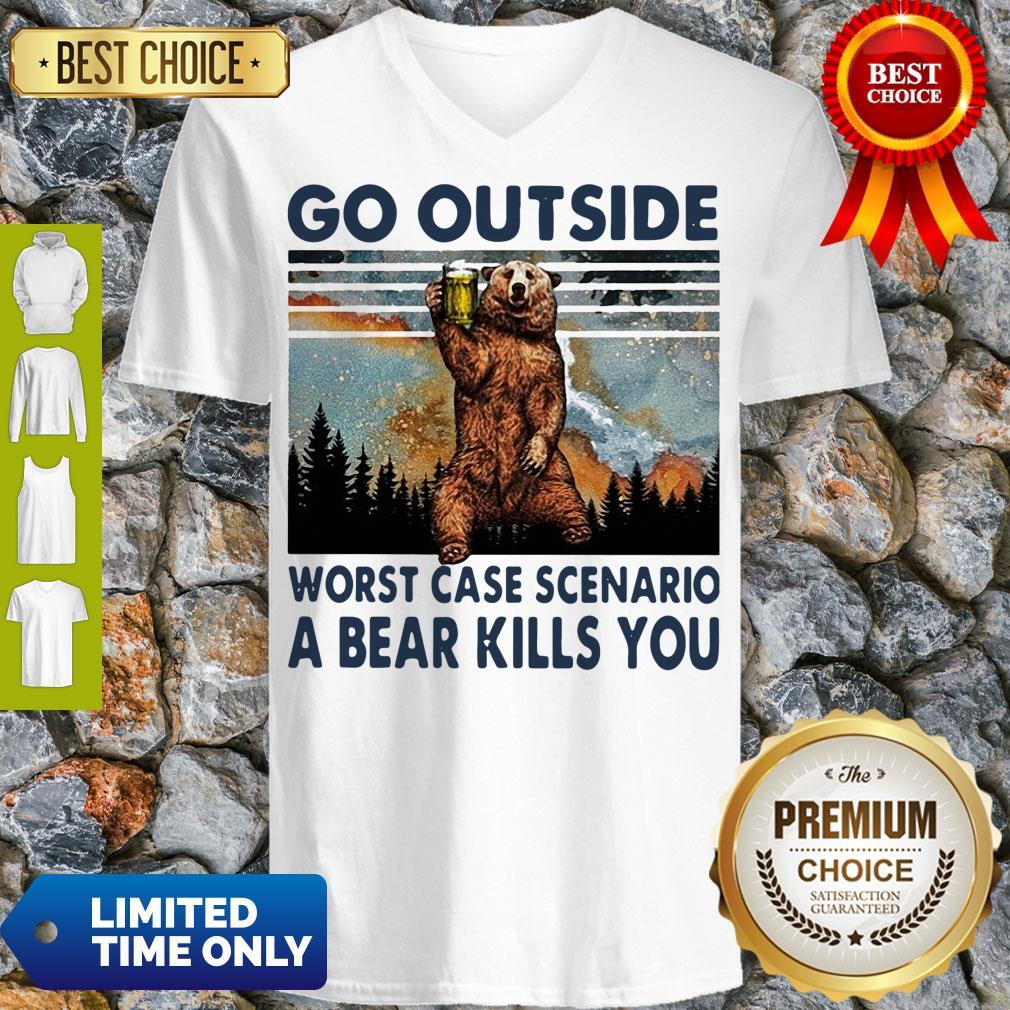 Official Beer Go Outside Worst Case Scenario A Bear Kills You V-neck