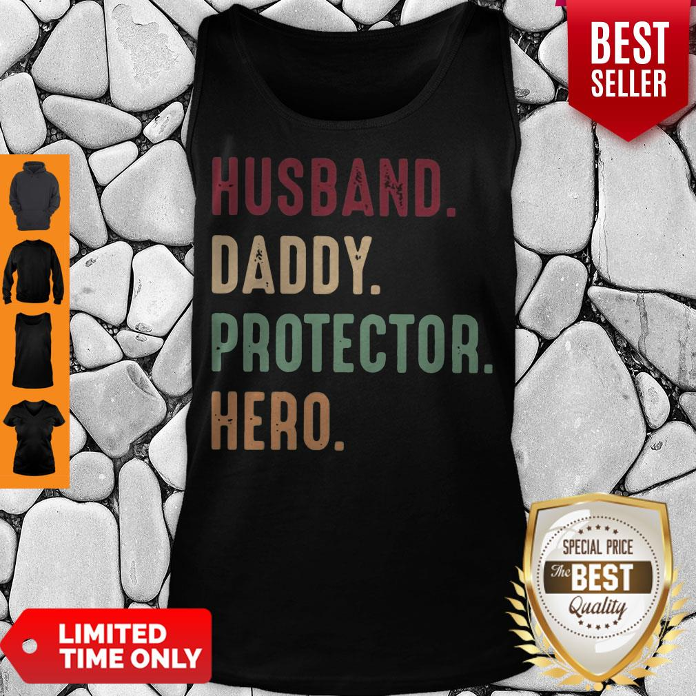 Official Husband Daddy Protector Hero Vintage Tank Top