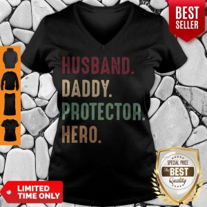 Official Husband Daddy Protector Hero Vintage V-neck
