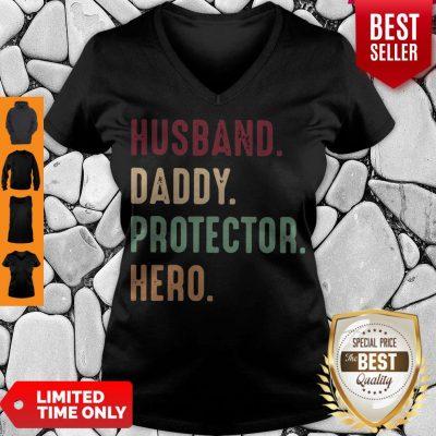 Official Husband Daddy Protector Hero Vintage V-neck