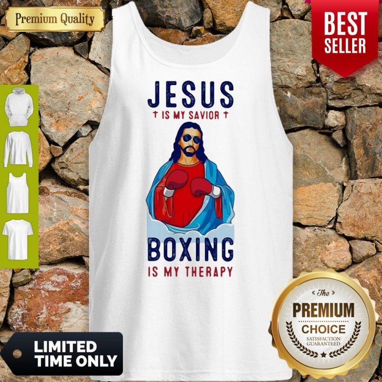 Premium Jesus Is My Savior Boxing Is My Therapy Tank Top