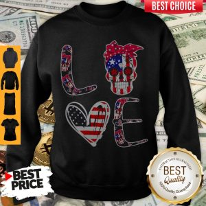Premium Love Sugar Skull American Flag Sweatshirt