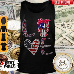 Premium Love Sugar Skull American Flag Tank Top