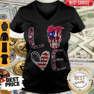 Premium Love Sugar Skull American Flag V-neck