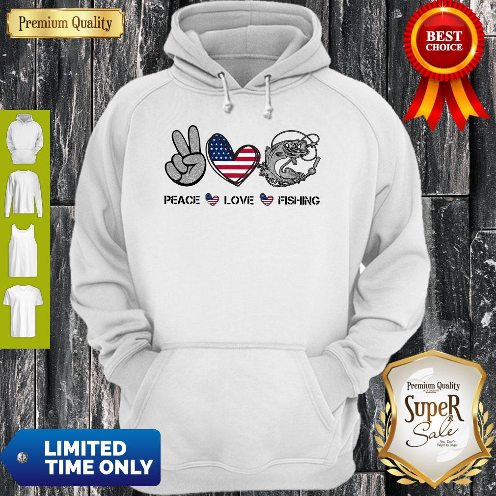 Premium Peace Love Fishing American Flag Hoodie