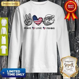 Premium Peace Love Fishing American Flag Sweatshirt