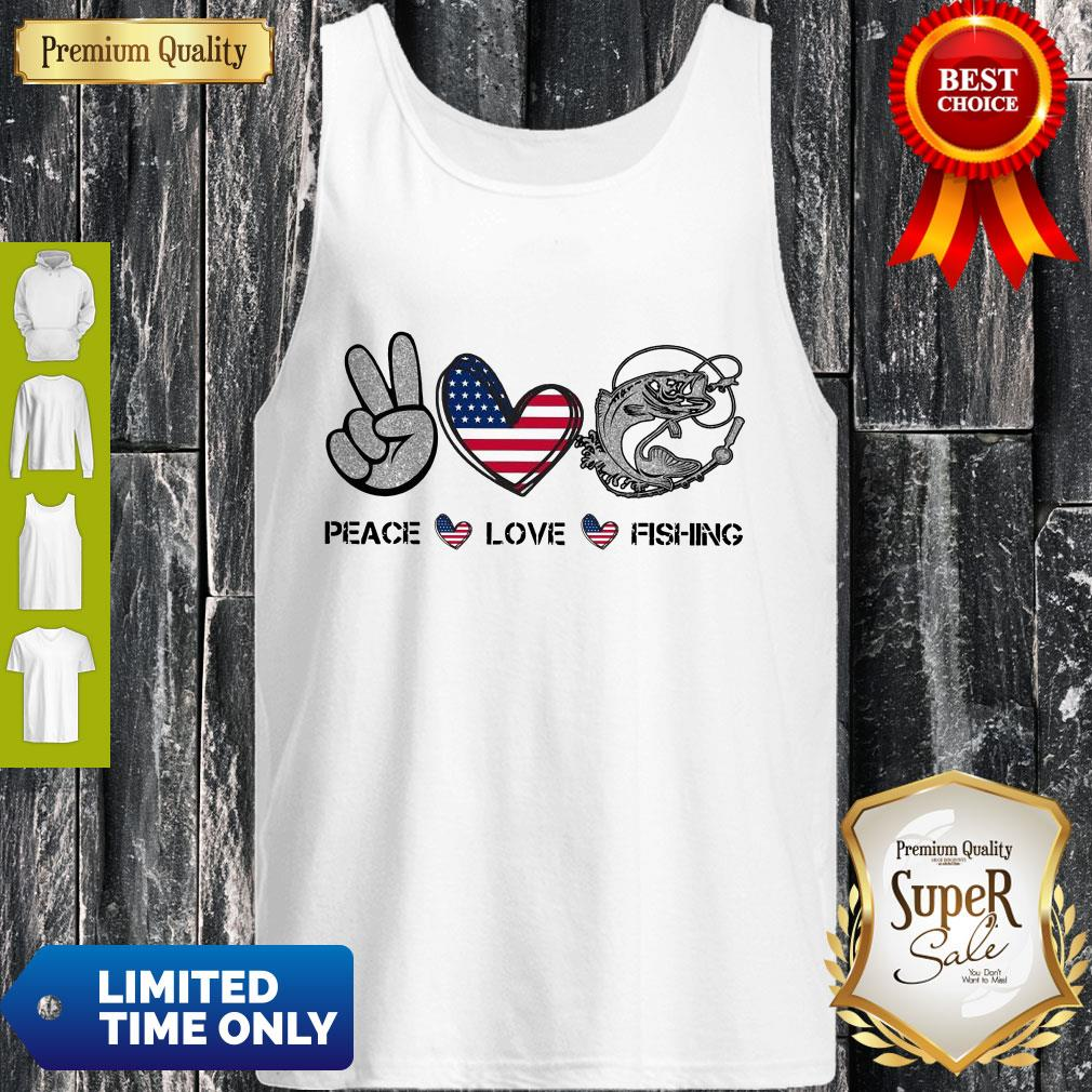 Premium Peace Love Fishing American Flag Tank Top
