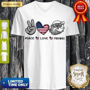Premium Peace Love Fishing American Flag V-neck