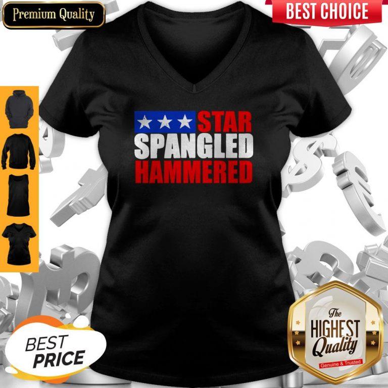 Premium Star Spangled Hammered 4th Of July V-neck