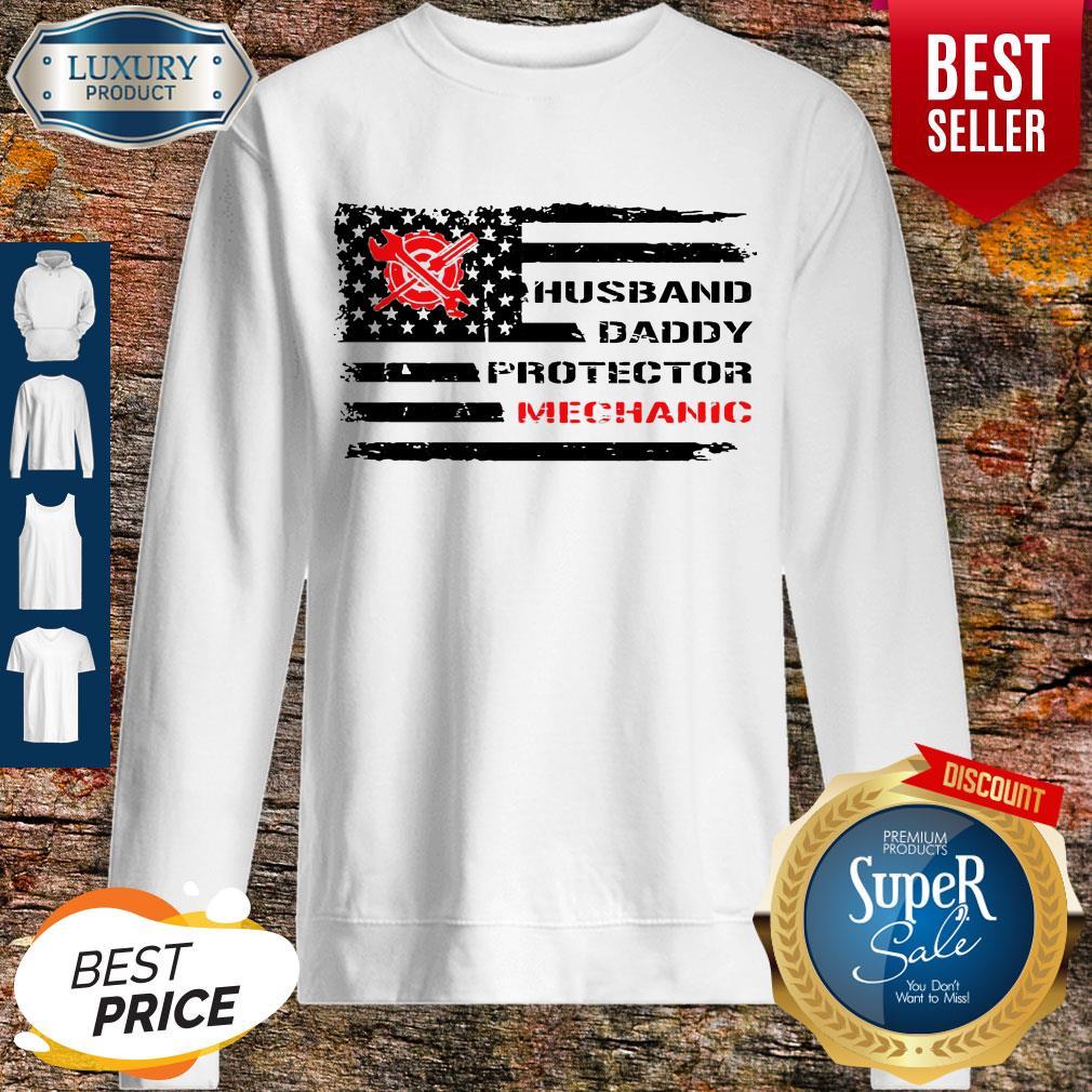 Top American Flag Husband Daddy Protector Mechanic Sweatshirt