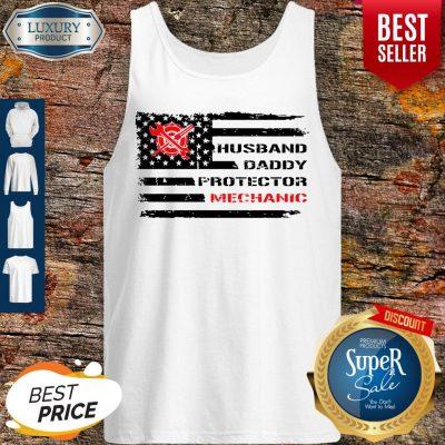 Top American Flag Husband Daddy Protector Mechanic Tank Top