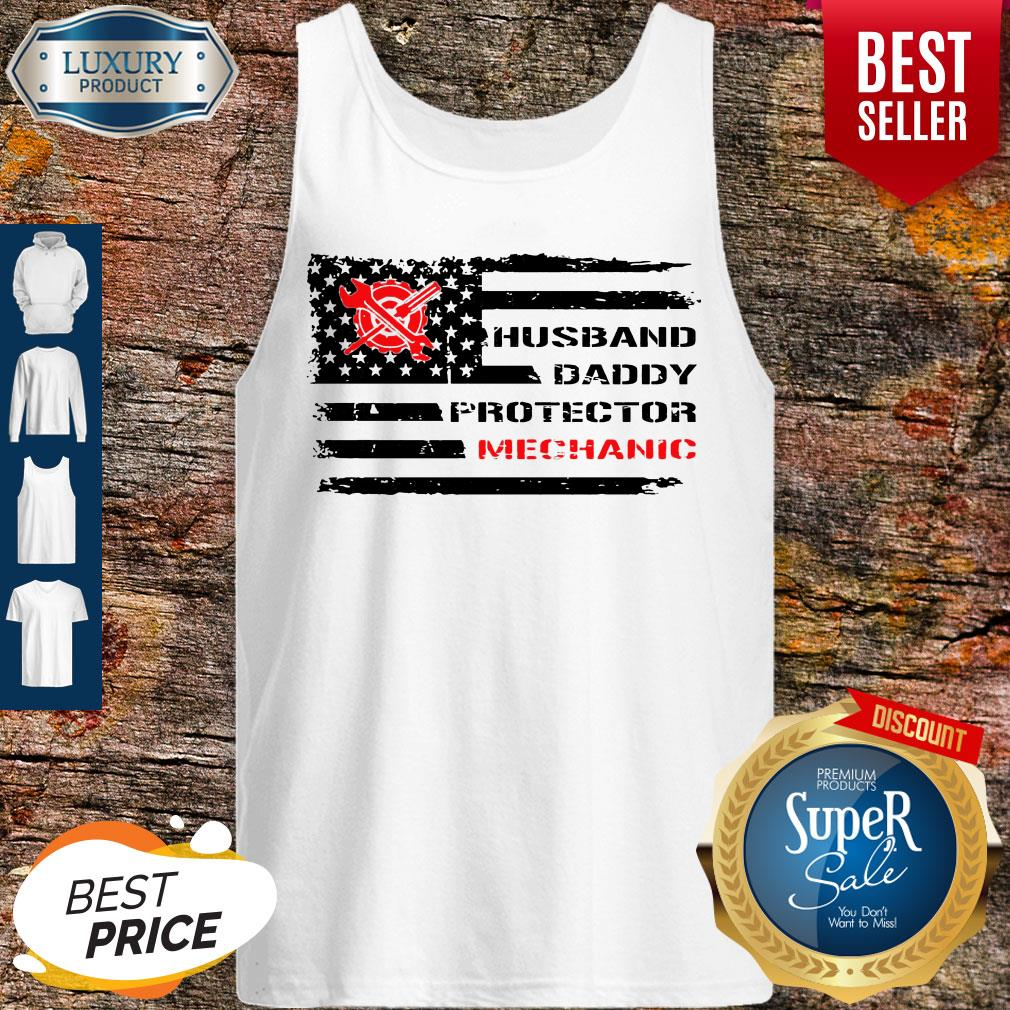 Top American Flag Husband Daddy Protector Mechanic Tank Top