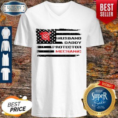 Top American Flag Husband Daddy Protector Mechanic V-neck