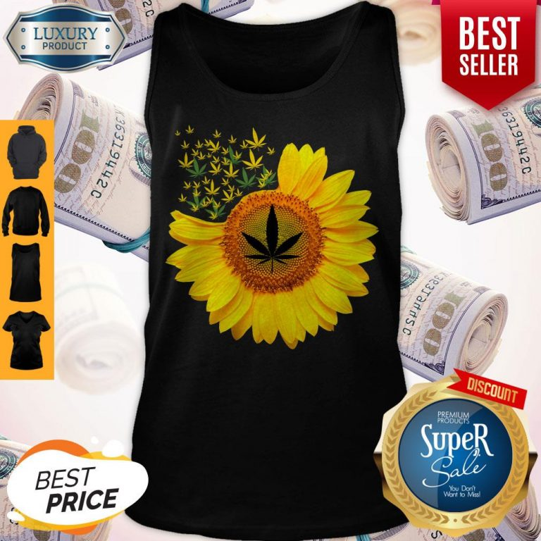 Top Canabis Weed Sunflower Tank Top
