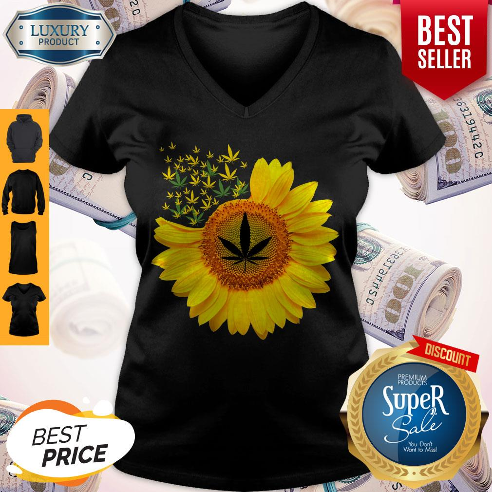 Top Canabis Weed Sunflower V-neck