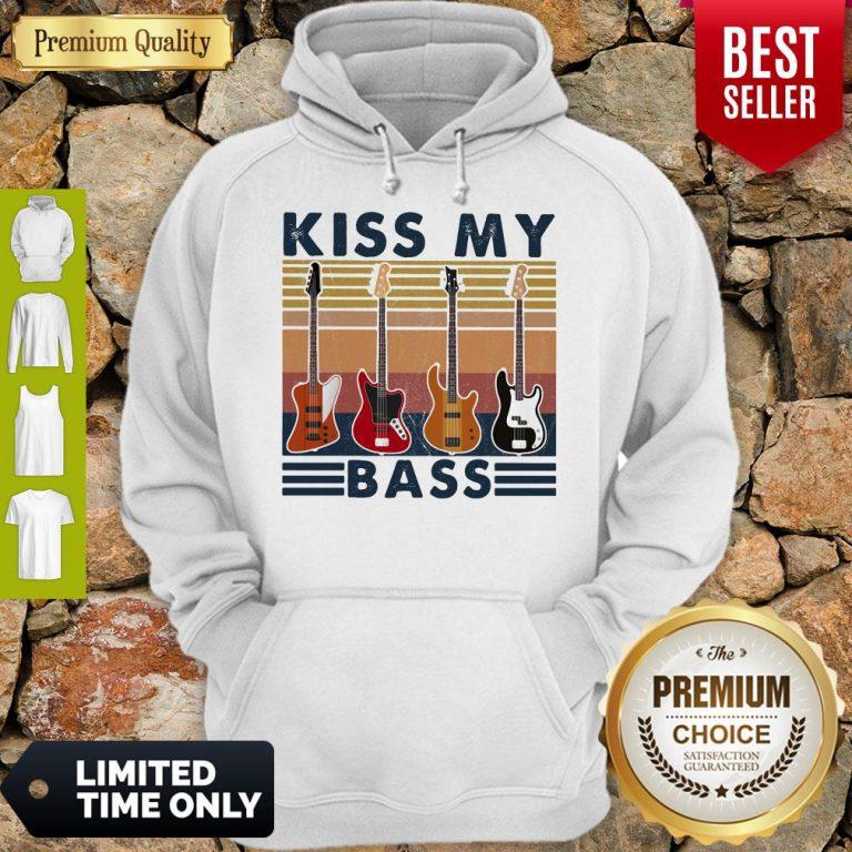 Top Kiss My Bass Guitar Vintage Hoodie