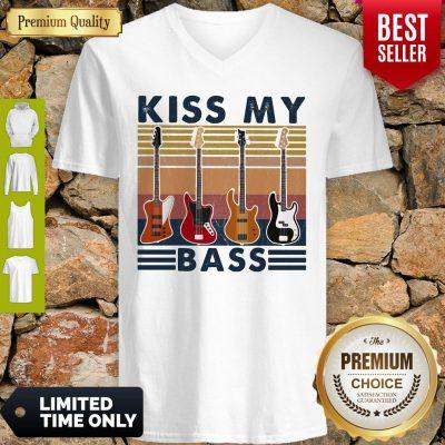 Top Kiss My Bass Guitar Vintage V-neck