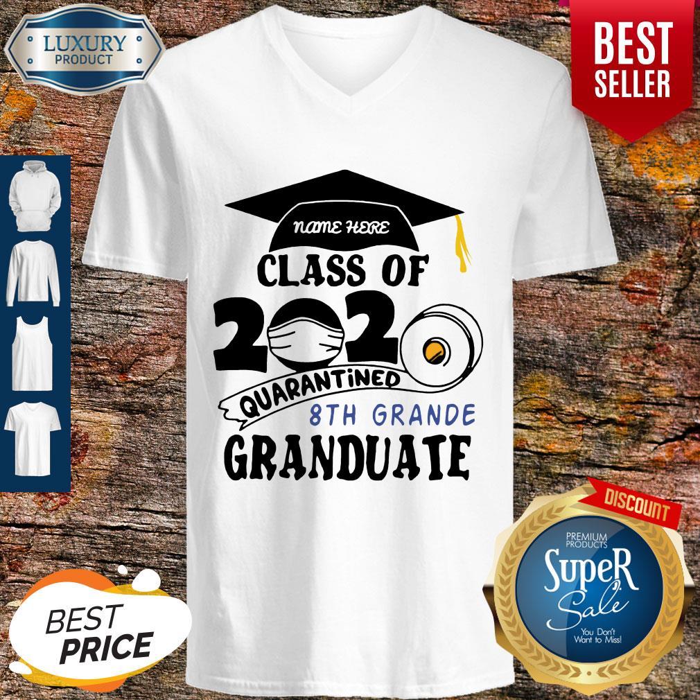 Top Name Here Class Of 2020 Quarantined 8th Grande Granduate Black V-neck