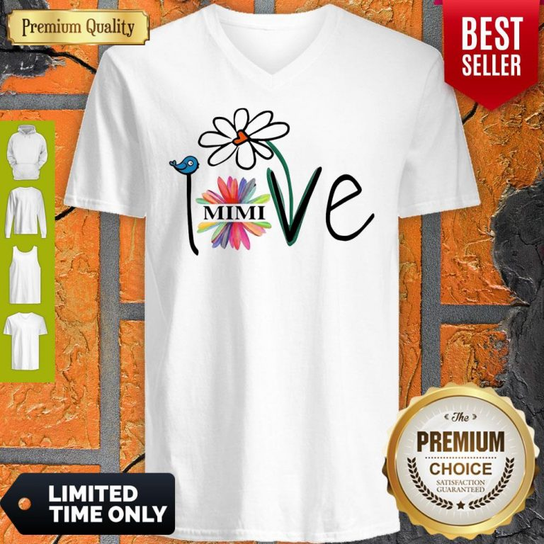 Top Woman Mom Love Mimi Life Heart Floral Gift V-neck