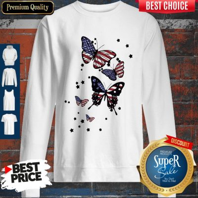 Awesome 4th Of July Butterfly American Flag Sweatshirt