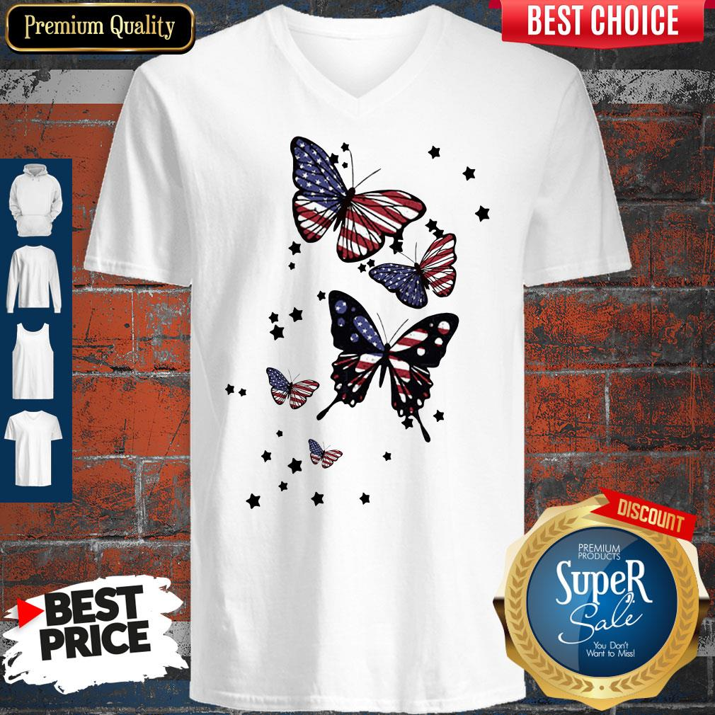 Awesome 4th Of July Butterfly American Flag V-neck