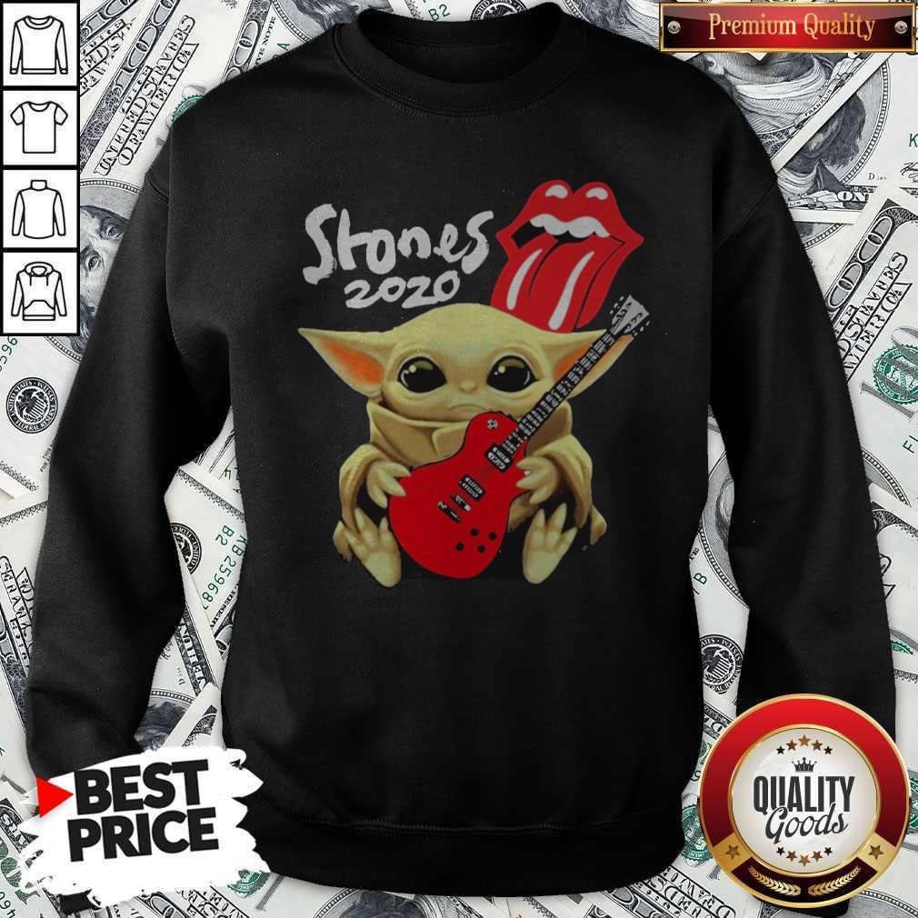 Awesome Baby Yoda Hug The Rolling Stones Sweatshirt