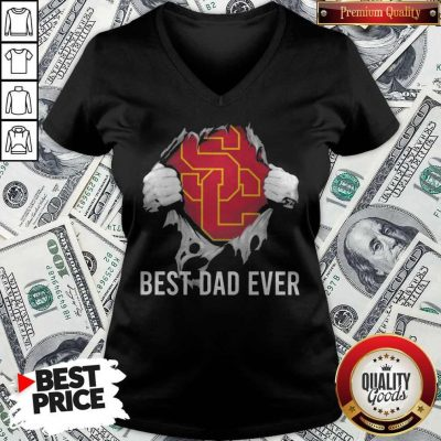 Awesome Blood Inside Me USC Trojans Football Best Dad Ever V-neck