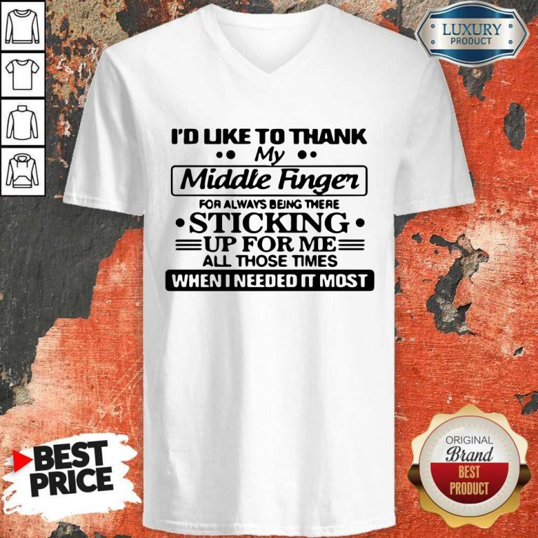 Awesome I'd Like To Thank My Middle Finger V-neck