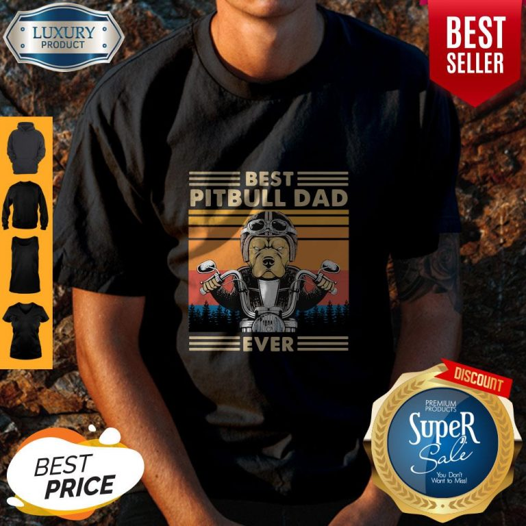 Awesome Motorcycle Best Pitbull Dad Ever Vintage Shirt