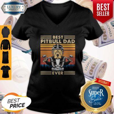 Awesome Motorcycle Best Pitbull Dad Ever Vintage V-neck