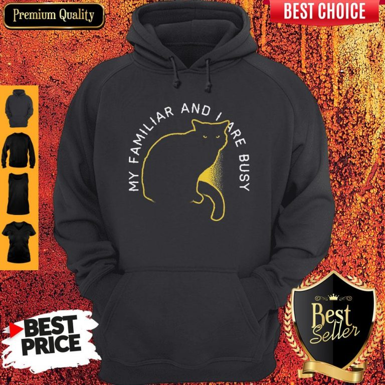 Awesome My Familliar And I Are Busy Black Cat Hoodie