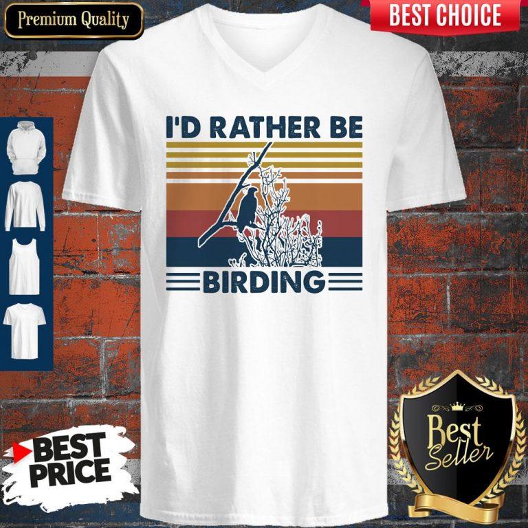 Funny Bird Watching I'd Rather Be Birding Vintage Retro V-neck