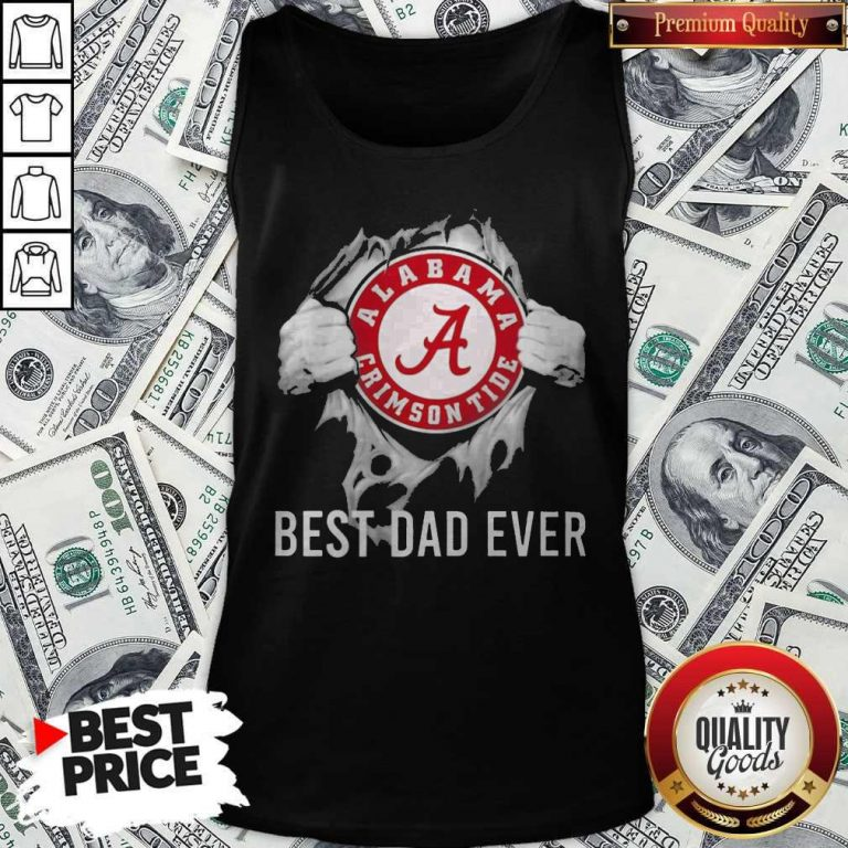 Funny Blood Inside Me Alabama Crimson Tide Football Best Dad Ever Tank Top