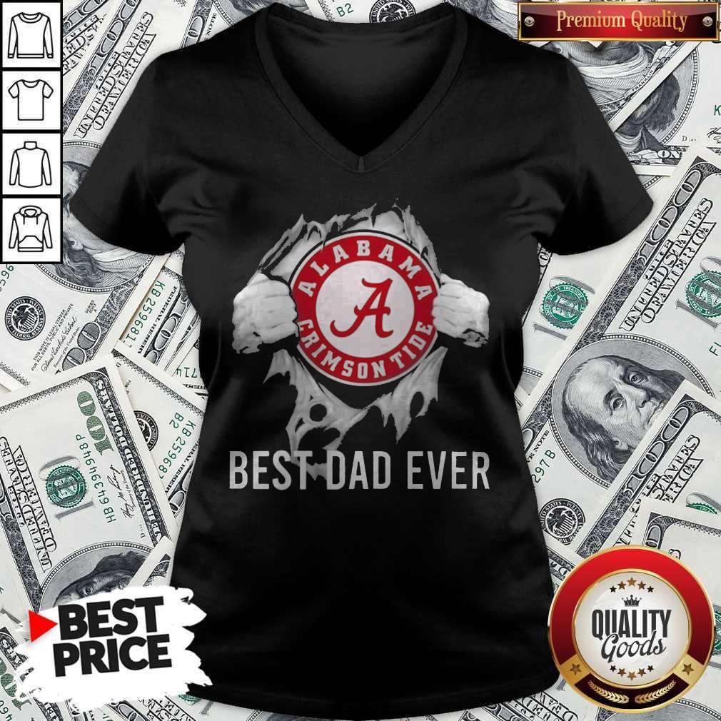 Funny Blood Inside Me Alabama Crimson Tide Football Best Dad Ever V-neck