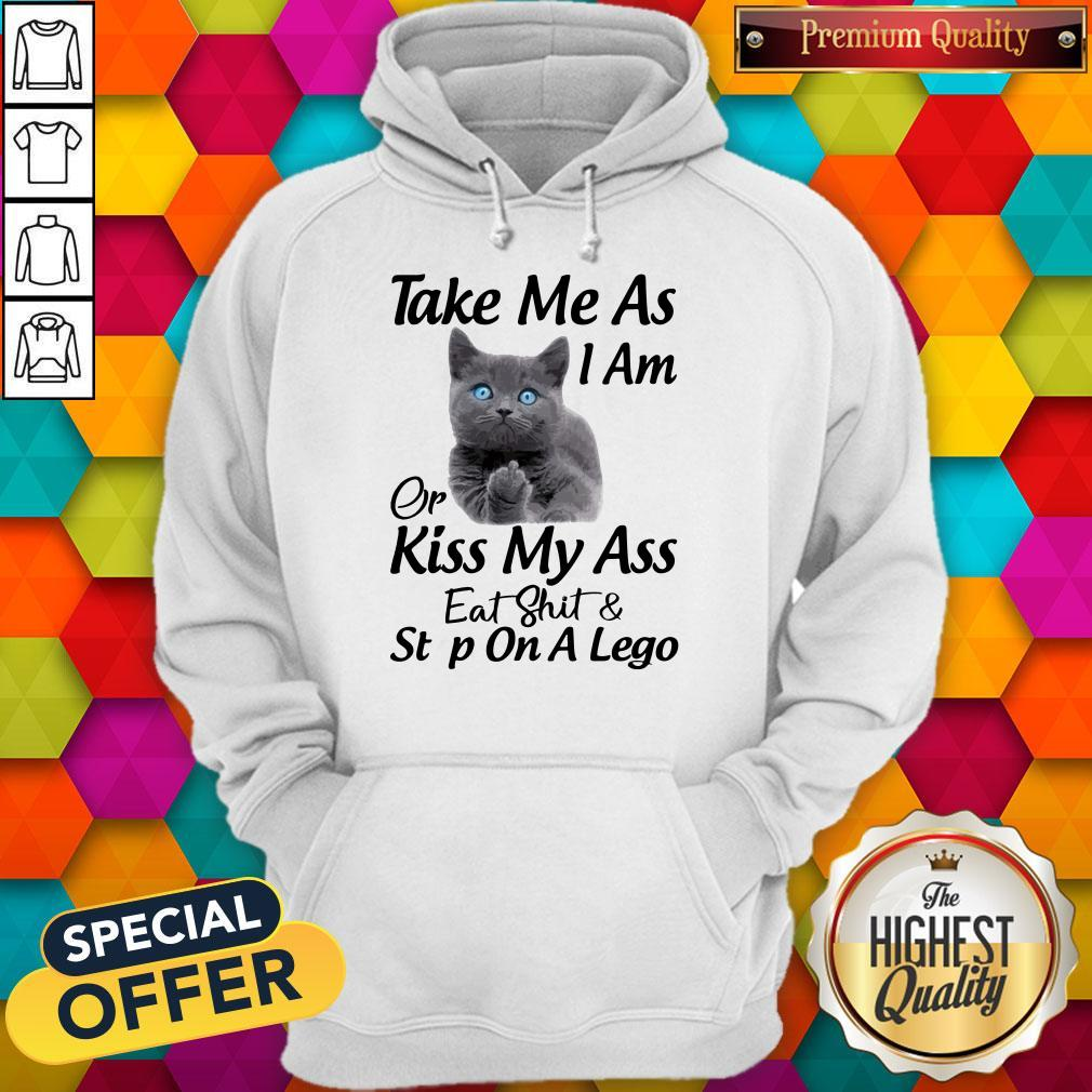 Funny Cat Take Me As I Am Or Kiss My Ass Eat And Step On A Lego Hoodie