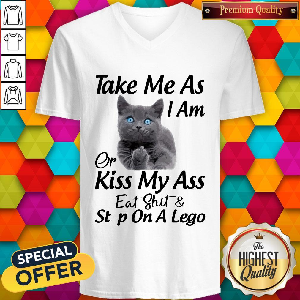 Funny Cat Take Me As I Am Or Kiss My Ass Eat And Step On A Lego V-neck