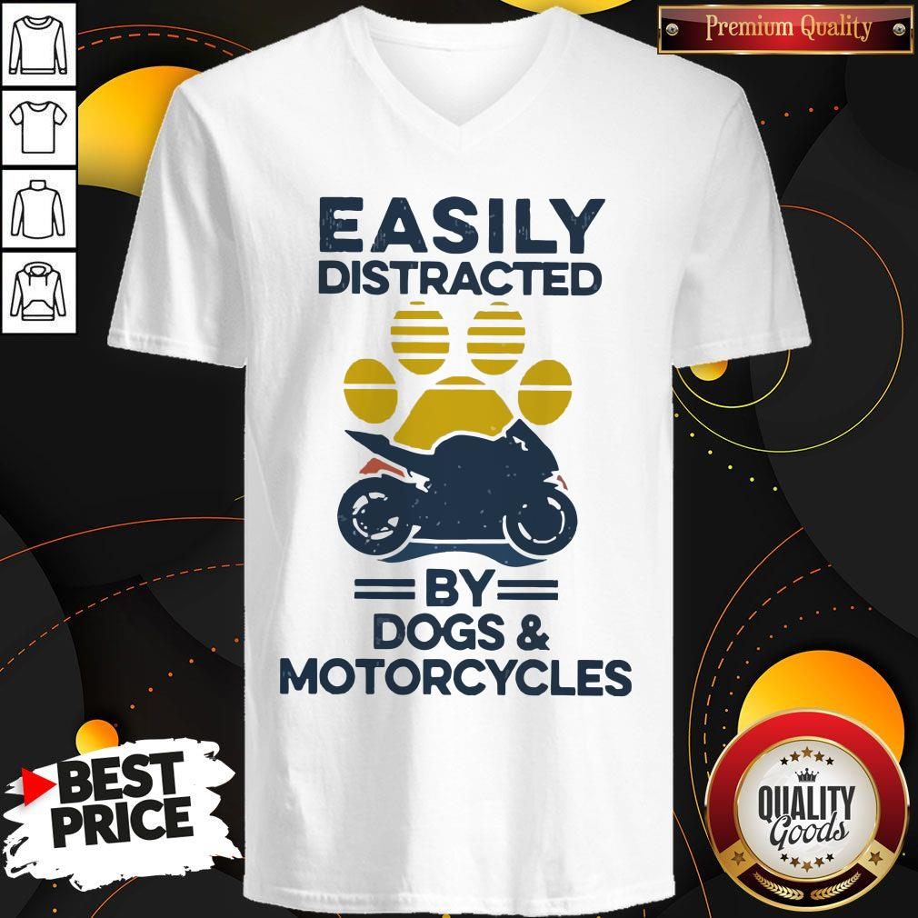 Funny Easily Distracted By Dogs And Motorcycles Vintage V-neck