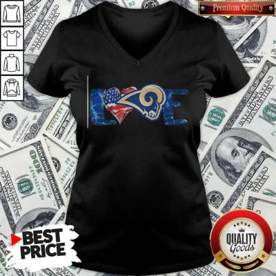 Funny I Love Los Angeles Rams American V-neck
