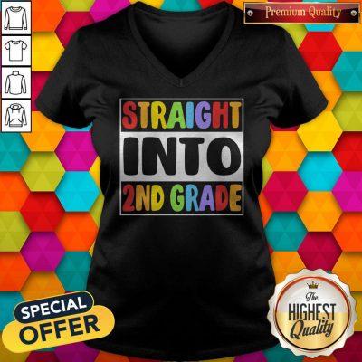 Funny LGBT Straight Into 2nd Grade V-neck