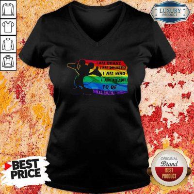 Funny Mickey LGBT I Am Brave I Am Bruised V-neck