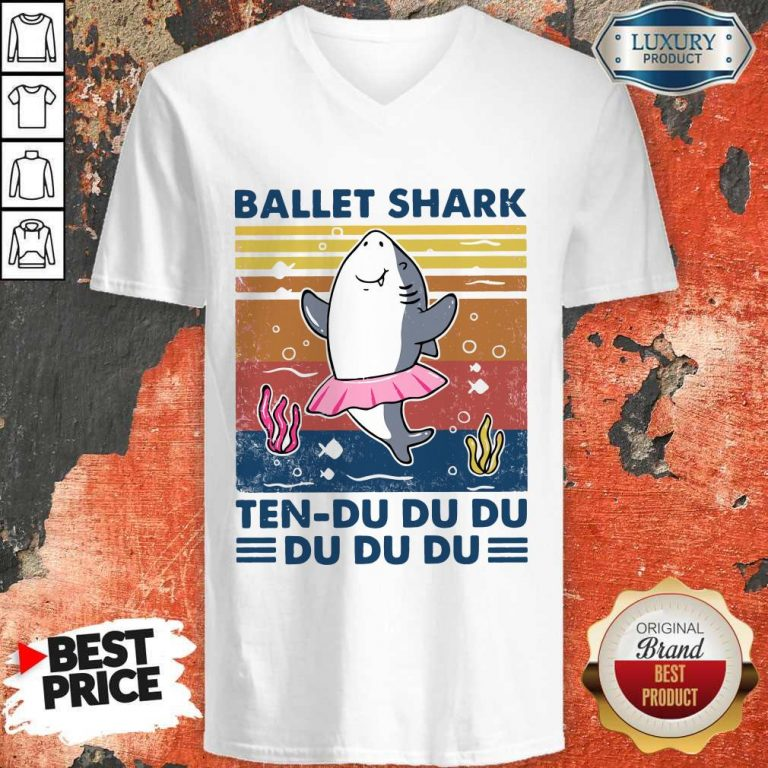 Nice Ballet Shark Ten Du Du Du Du Du Du Vintage V-neck