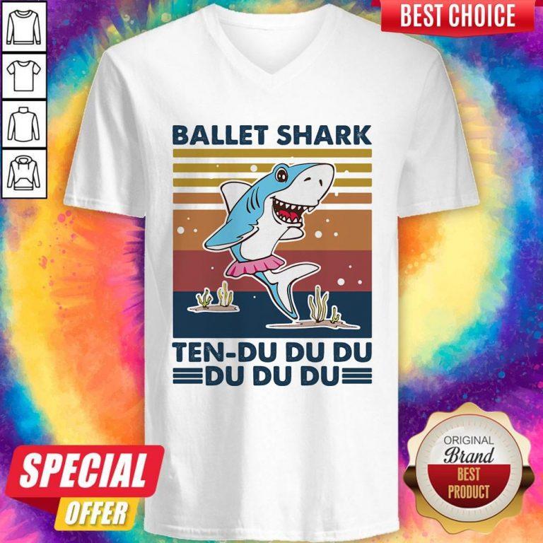 Nice Ballet Shark Ten-Du Du Du Du Du Du Vintage V-neck
