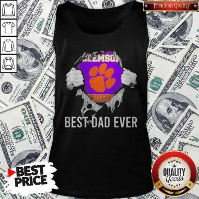 Nice Blood Inside Me Clemson Tigers Football Best Dad Ever Tank Top