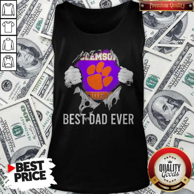 Nice Blood Inside Me Clemson Tigers Football Best Dad Ever Tank Top
